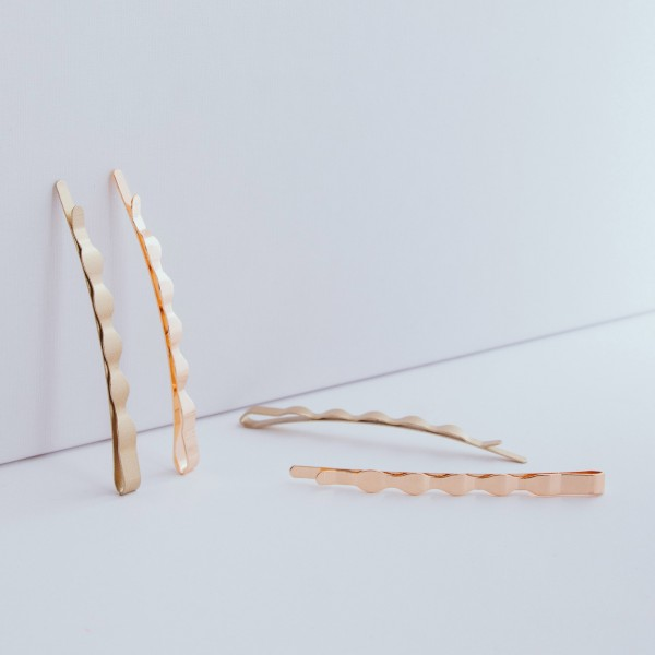 PARSA Beauty hair clips 4 pieces Simple hair clip combination in gold