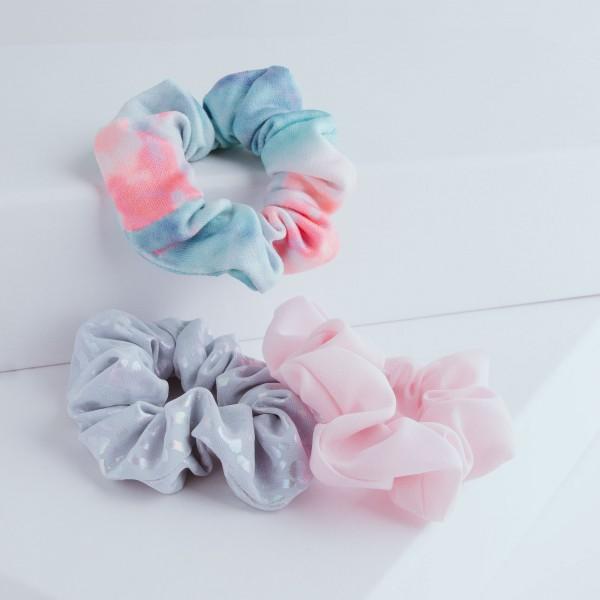PARSA Beauty Scrunchie 3er Set in irisierenden Look