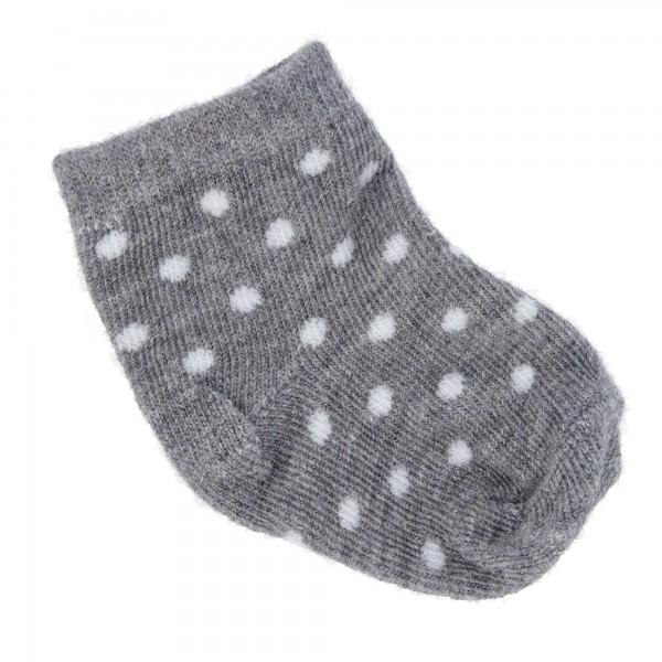PARSA Baby Söckchen grau mit weißen Punkten