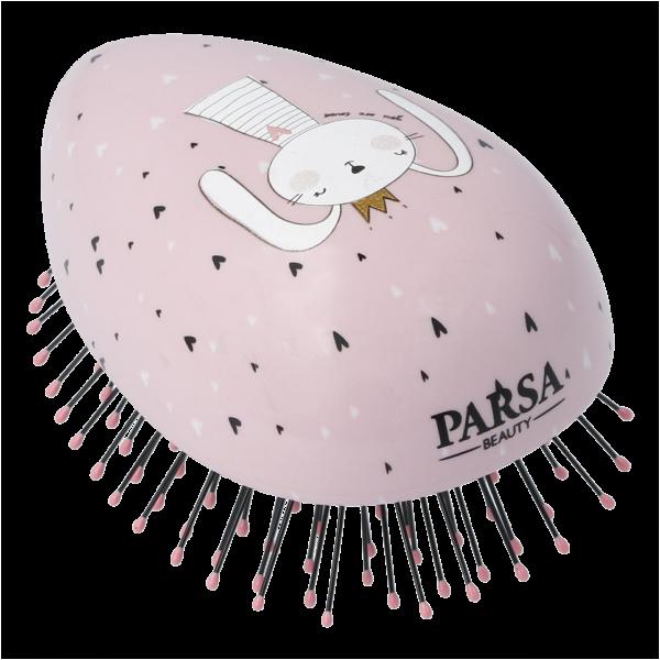 PARSA Beauty Compact Styler Mini Detangling Brush Children's Hair Detangler Bunny