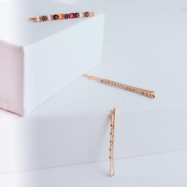 PARSA Beauty 3 Stück Haarklemmen-Kombination mit dekorativen Strasssteinen