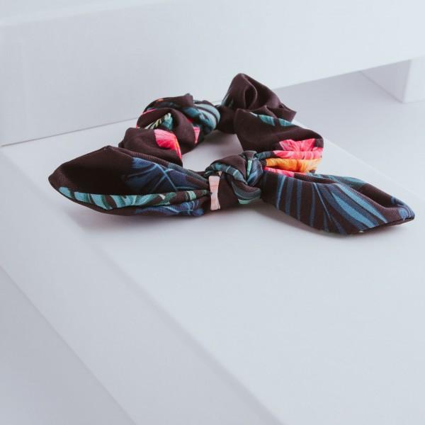 PARSA Beauty Scrunchie mit Schleifendetail in tropical Look