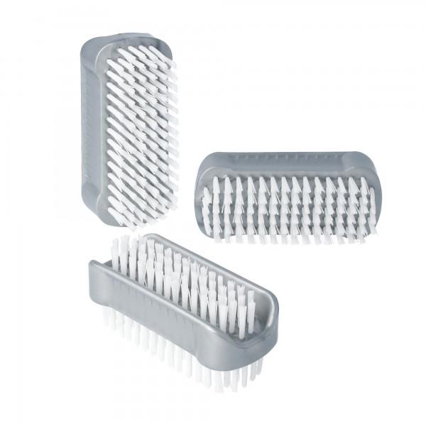PARSA Beauty Handwaschbürste, doppelseitige Nagelbürsten im 3er Pack in grau