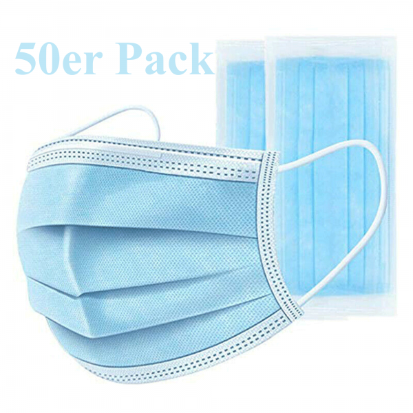 Pack of 50 disposable face mask, nose mask, 3-ply protective mask
