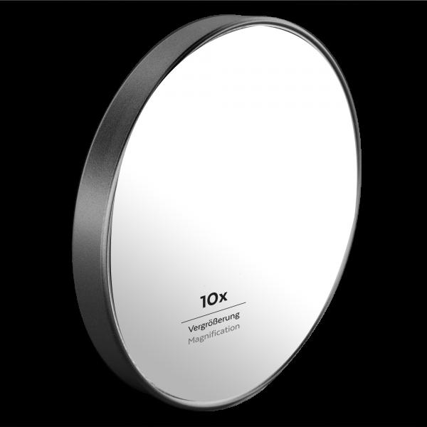 PARSA Beauty suction cup mirror shower mirror bathroom mirror with 10x magnification black-matt