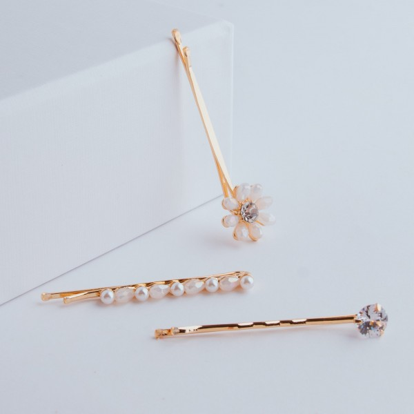PARSA Beauty hair clips combination with feminine details 3 pieces