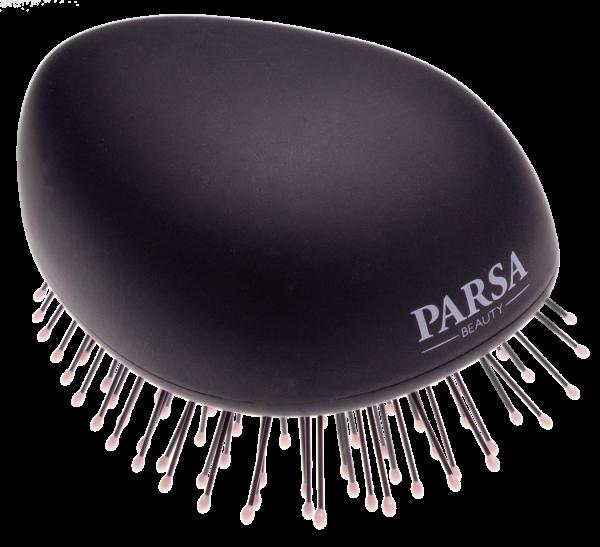 PARSA Beauty Detangling Brush Compact Styler Mini Wet & Dry Hair Detangler in black