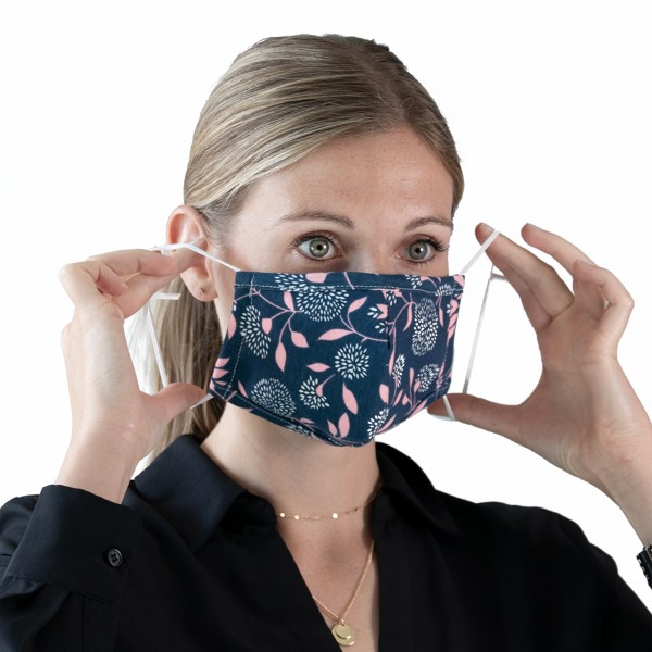 PARSA Beauty Washable mouth and nose mask for adults with blue / pink flowers print