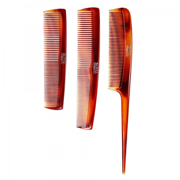 PARSA Beauty 3-piece comb set with handle comb, hairdressing comb and pocket comb