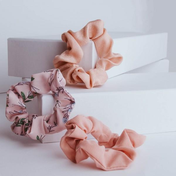 PARSA Beauty Scrunchie 3er Set mit floralen Details