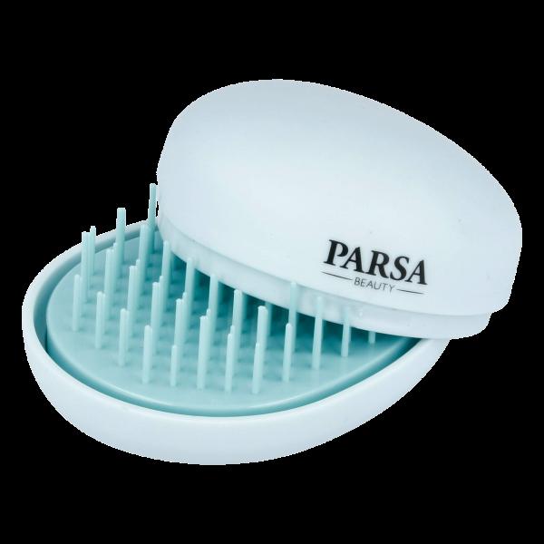 PARSA Beauty Pocket Detangler Detangling Brush with Mirror 2in1 Mini Hair Detangler