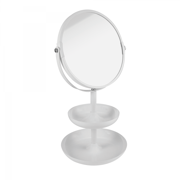PARSA Beauty standing mirror Etagere white matt mirror with 3x magnification and two storage trays